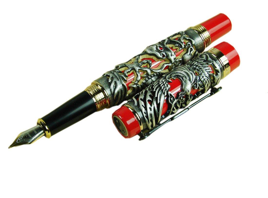 Jinhao Dragon Phoenix bordado pluma gris estilográfica gris pluma bordado fondo rojo con bolígrafo bolsa 95312f
