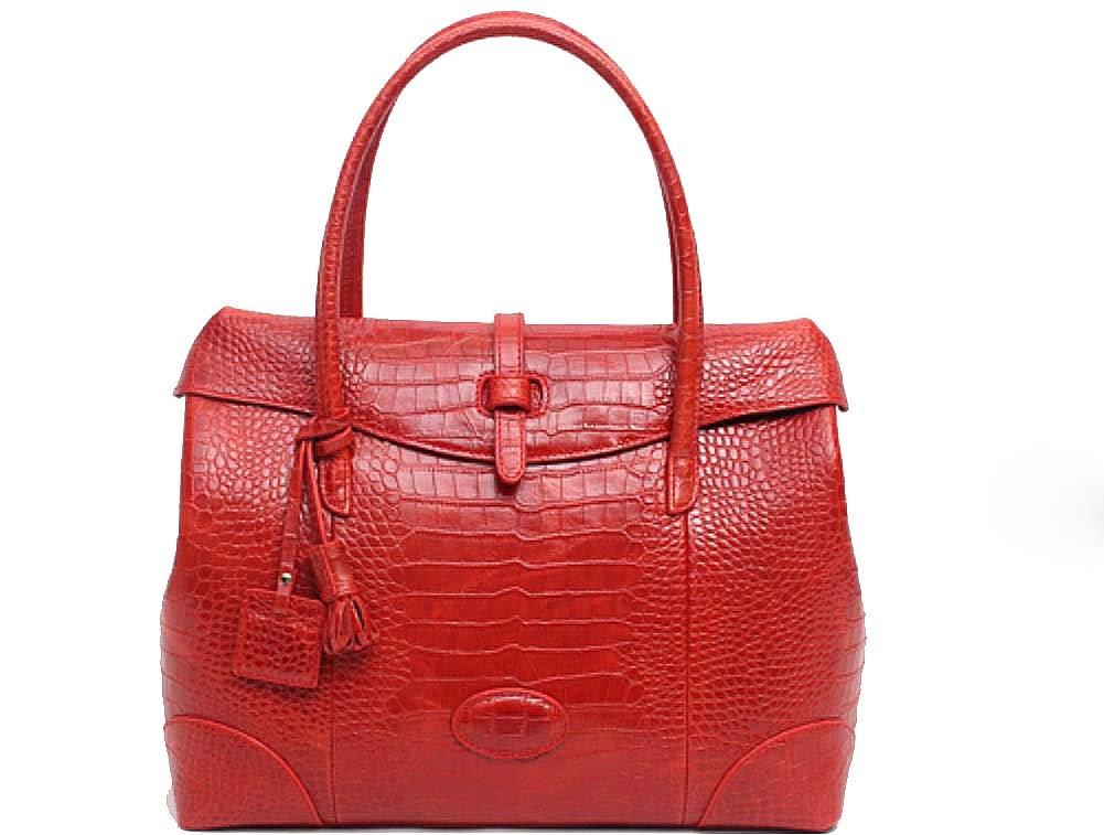 Fashion Crocodile Pattern Leather Shoulder Handbag 4 Color (Red) by PRISTINE&BB (Image #1)