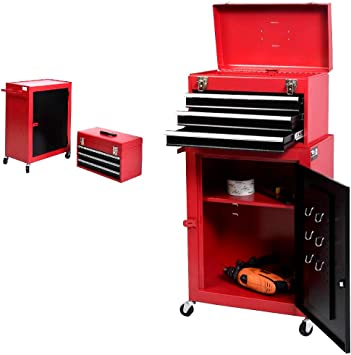 Black/&Red 18.1 X11 X36.6 2pc Mini Tool Chest /& Cabinet Storage Tool Box 3 Drawers Rolling Tool Chest Garage Toolbox Organizer with Top Chest and Sliding Drawers