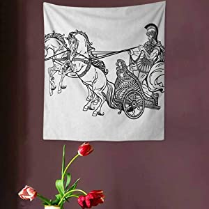 VVA Toga Party Tapestry Wall artRoman Warrior in a Chariot Pulled by Two Horses Historic Carriage Monochromeream Wall Decor Blanket for Bedroom Home Dorm,? Black White