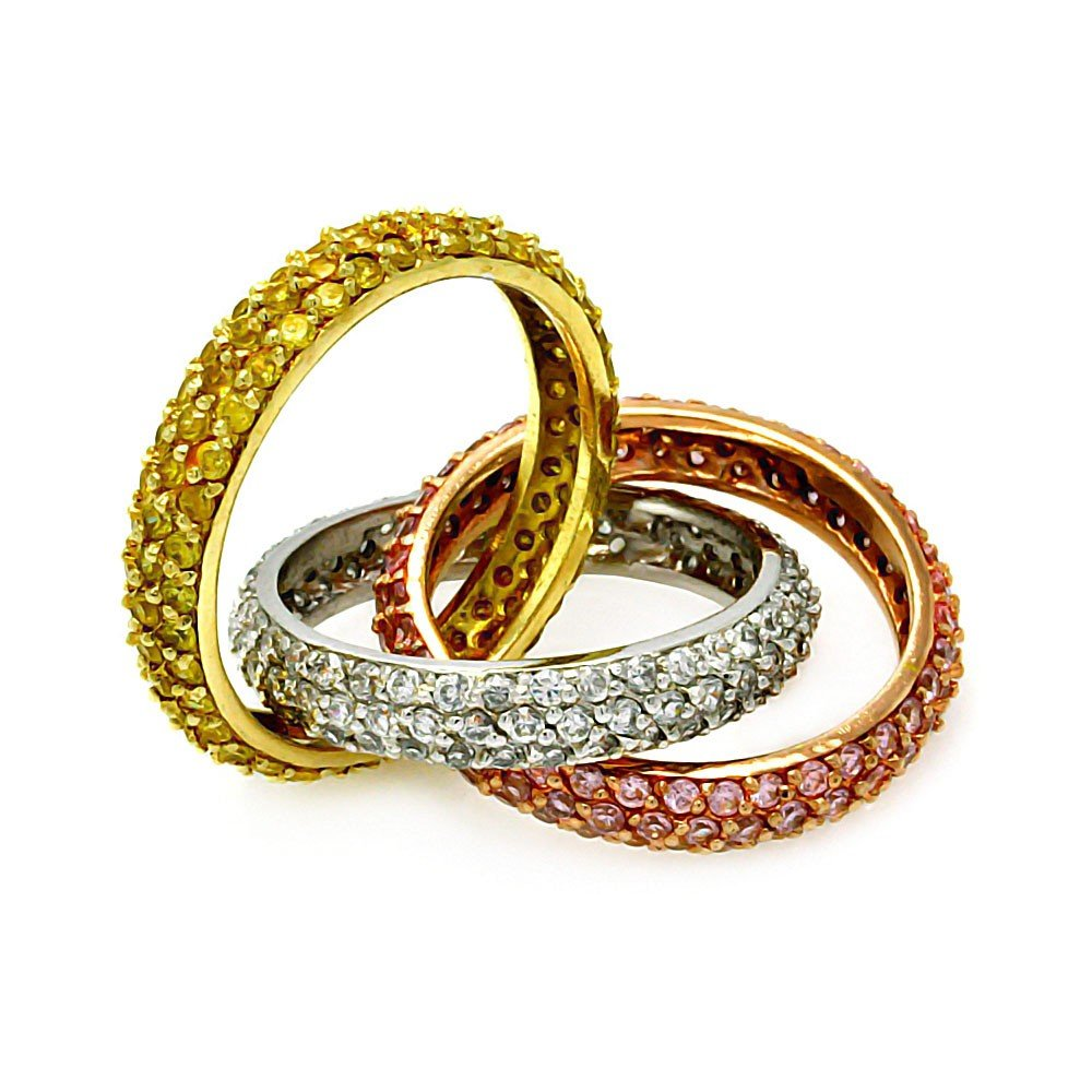 Clear Yellow And Pink Cubic Zirconia Intertwined Three Tone Plated Bands Ring Sterling Silver Size 5