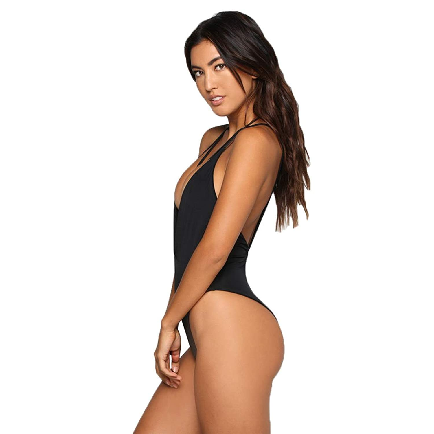 7a5aead8c4f0a Zero City Women Monokini Swimsuits One Piece Bathing Suit Deep V Backless  at Amazon Women's Clothing store: