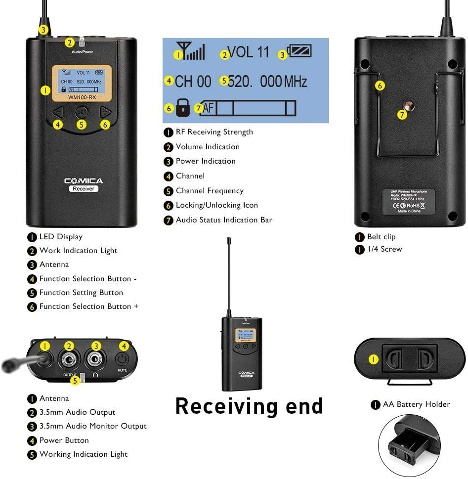 - Black 100m Long Range Transmission and Smartphones//iPhone Mirrorless Cameras for DSLR CVM-WM100 Comica Wireless Lavalier Microphone System UHF 48 Channel Omnidirectional Lapel Mic