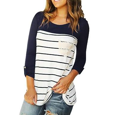 ZIYOU Damen Gestreift Langarmshirts, Frau Sweatshirts Pullover Tops Weich  Mode Casual O-Ausschnitt T 5e7fdf18ff