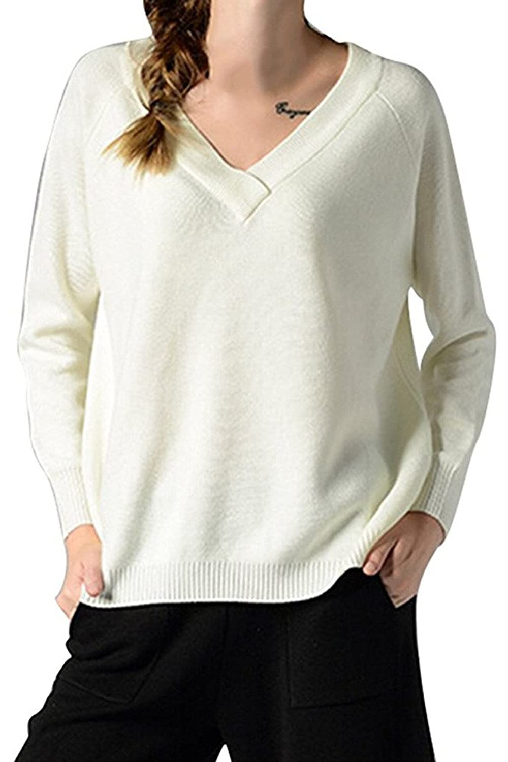 Wowforu Women's V Neck Long Sleeve Slouchy Loose Sweater Pullover Tops