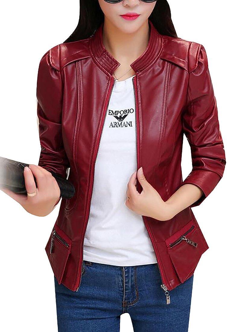 tescous Women Faux Leather Moto Biker Coats Jackets