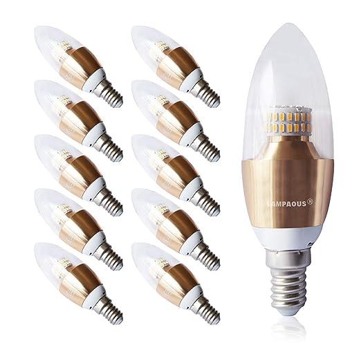 Lampaous 5 W C37 E12 bombillas LED, LED Torpedo, 40 W bombillas incandescentes equivalente, candelabro bombillas, ...