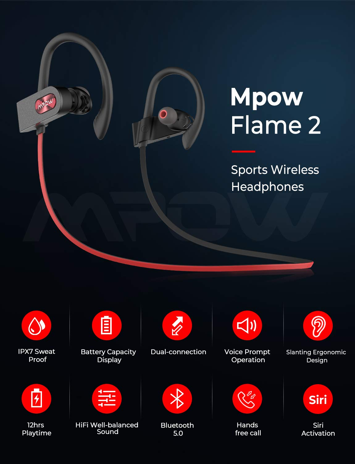Mpow Flame2 Bluetooth Headphones Sport, 12Hrs Bluetooth 5.0 Wireless Sport Earphones, IPX7 Waterproof Running Headphones w CVC 6.0 Noise Cancelling Mic, Bluetooth Earphones w Comfort-Slanting,Red