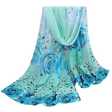 Echarpes et foulards Amlaiworld Femmes Rose Pattern Mousseline de soie  Enveloppe de châle Wraps écharpe été e3922b7d31d