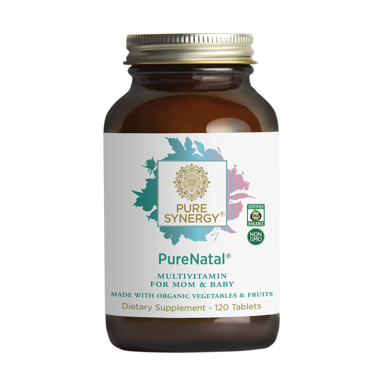 Pure Synergy PureNatal Prenatal Vitamin | 120 Tablets | Made with Organic Ingredients | Non-GMO | Vegan | Gentle on Stomach | Made with Organic Veggies and Fruits