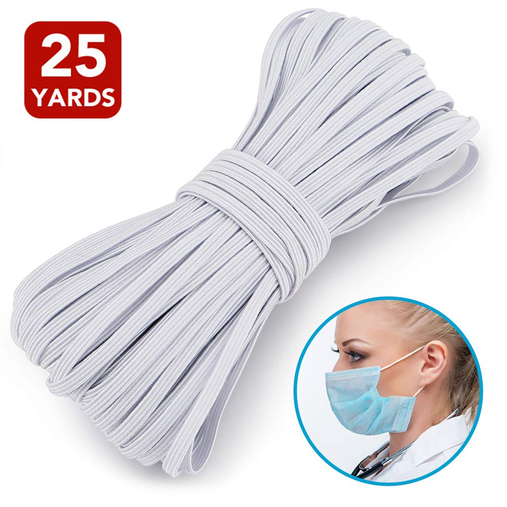 100 Yards 1//8 inch White Elastic Cord Band Braided Elastic Stretch for Sewing Crafting