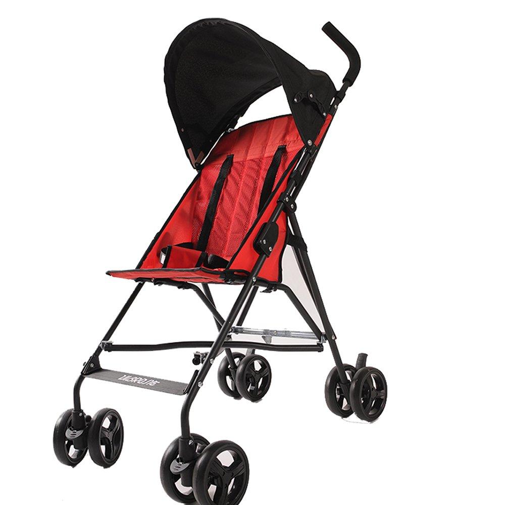 Child vehicle Carrito de los niños de ZDDAB, Carretilla Plegable del Paraguas del bebé, Carretilla Ligera portátil (Color : Red, Tamaño : Edición de Lujo): ...