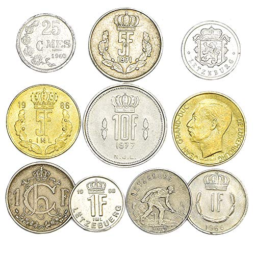 10 Old Coins from Luxembourg. Collectible Coins: CENTIMES, FRANCS Grand Duke Jean 1964-1999. Perfect Choice for Your Coin Bank, Coin Holders and Coin Album (Franc Coin)