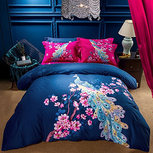 (TheFit Paisley Textile Bedding, for Young Adult W385 Luxury Peacock Duvet Cover Set 100% Sanded Cotton 800 Thread Count, Queen King Set, 4 Pieces (Queen))