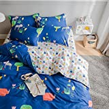 mixinni Animal Print Kids Blue 3 Piece Duvet Cover Sets Full Reversible Bedroom Collections 100% Cotton Twin Comforter Bedding Cover Sets 3 Piece Teens Girls Boys