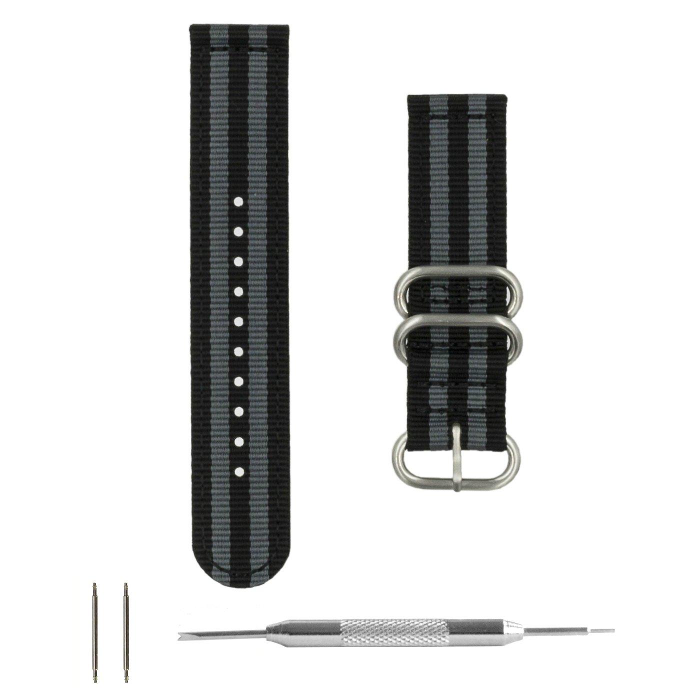 Benchmark Straps 20 & 22mm Ballistic Nylon Zulu Watchband + Spring Bar Removal Tool by Benchmark Straps