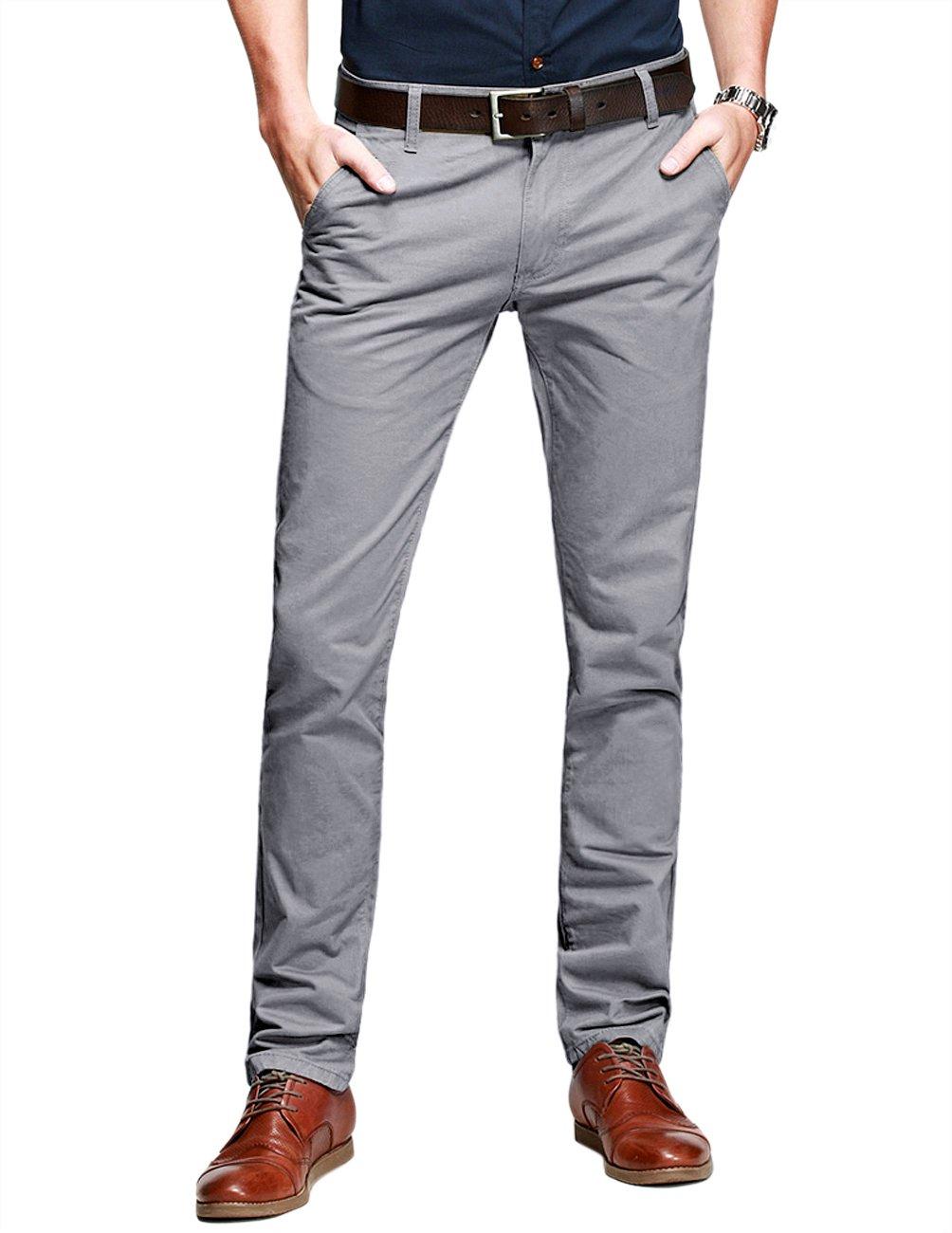 Match Mens Slim-Tapered Flat-Front Casual Pants(Medium Gray,38)