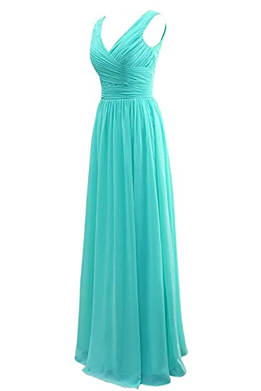 Macria Womens Hot Sale V Neck Pleat Long Bridesmaid Dresses Prom Gown UK12 Tiffany Blue