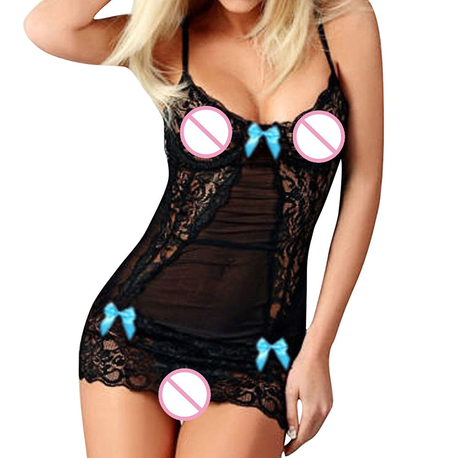 Fashion Women Sexy Bow Lace Racy Underwear Spice Suit Temptation Underwear at Amazon Womens Clothing store: