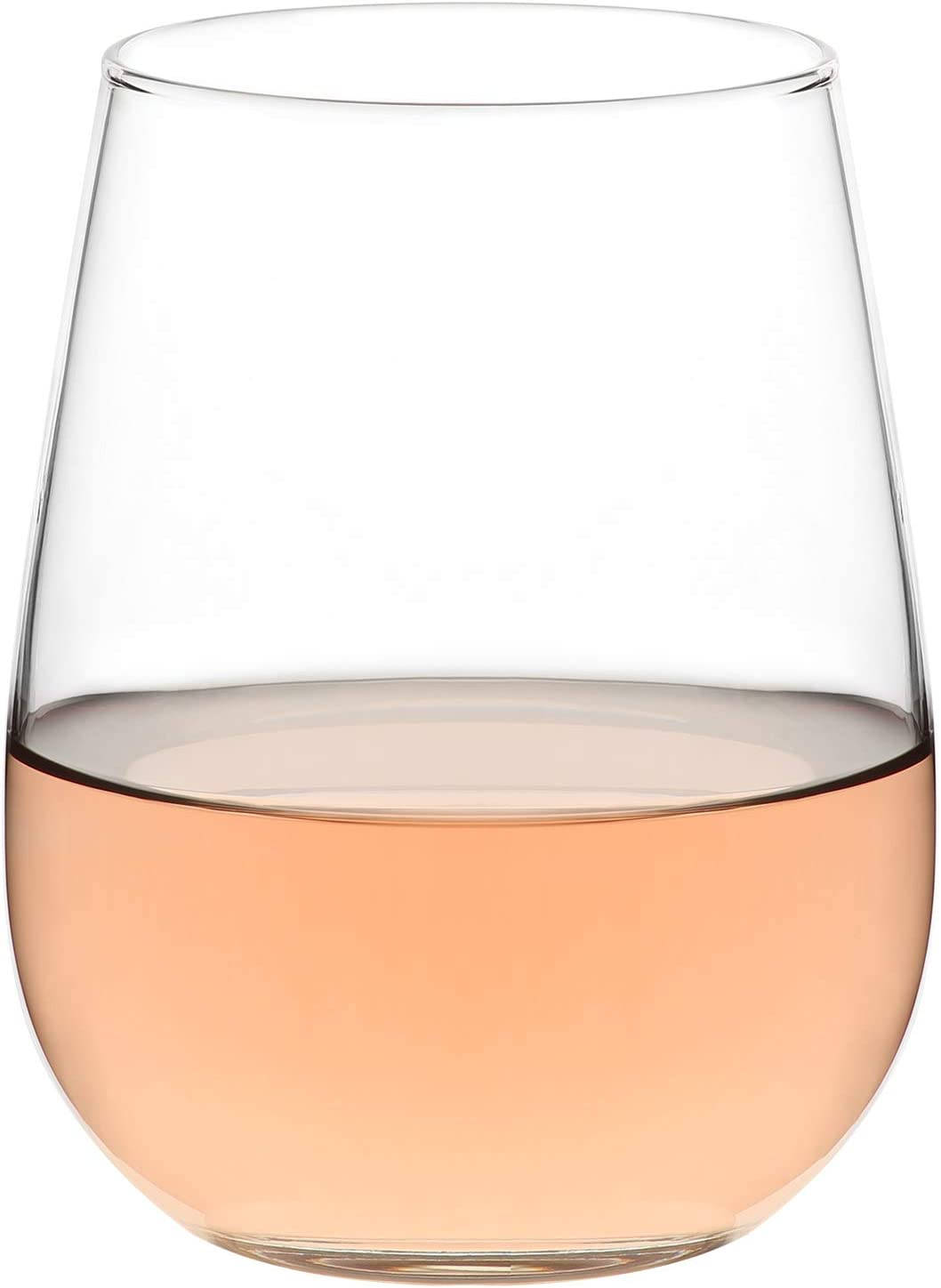 LAV Stemless Wine Glasses 6-Piece, Red or White | 16 oz All-Purpose Lead-Free Modern Clear Glass Tumbler Set for Wine & Water and Beverages | Easy to Hold, Ideal for Everyday Use or Entertaining