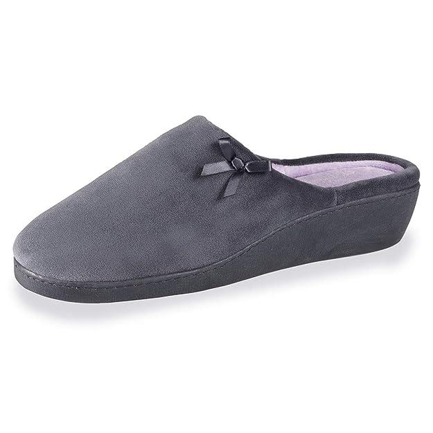 732ec819405df Isotoner Chaussons Mules Talon Femme Ruban Satin  Amazon.fr  Chaussures et  Sacs