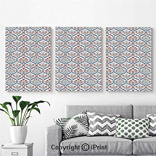 (Canvas Prints Modern Art Framed Wall Mural Turkish Ceramic Tulip Patterns with Cultural Ottoman Royal Lines Design for Home Decor 3 Panels,Wall Decorations for Living Room Bedroom Dining Room Bathro)