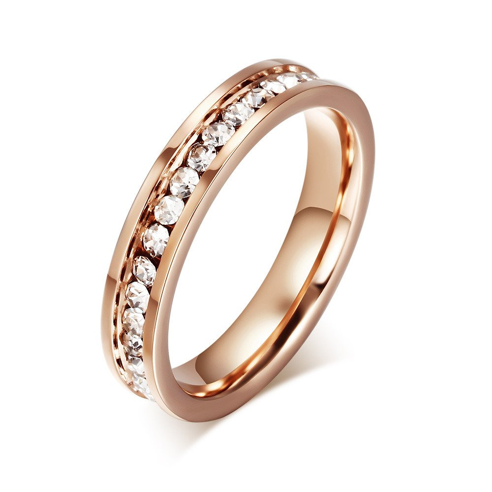 Mealguet Jewelry 4MM 18K Rose Gold Round Women's Stainless Steel band Ring with a Row of Cubic Zircon, Size US 5-10 MG--R--050P