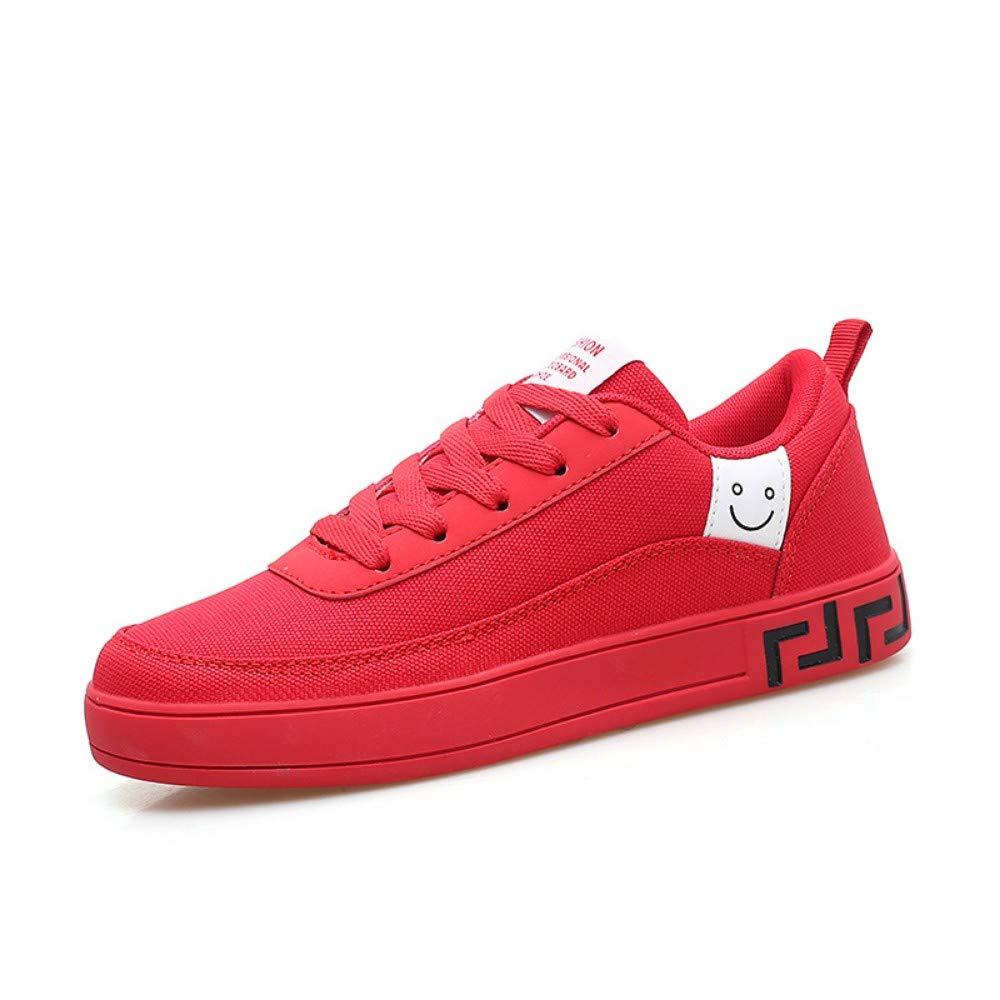 YOPEW 2019 Hot Donna Scarpe Scarpe Scarpe Nero Rosso scarpe da ginnastica Donna Lace-Up Casual Traspirante Scarpe da Passeggio in Tela Graffiti Flat, 37 e40143