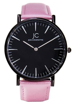 6fae02eac1a44d Jean Constantine élégant montre bracelet femme, rose noir, Bracelet en  Cuir,,