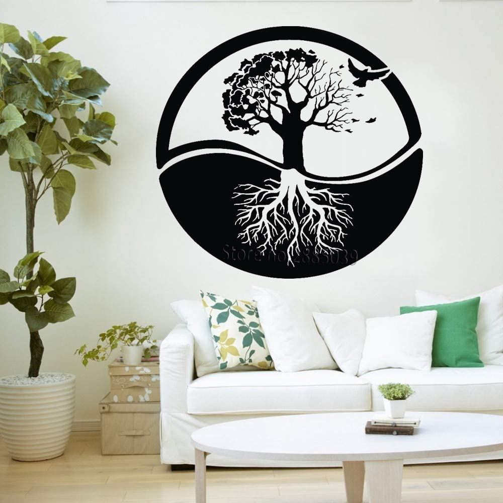 YuanMinglu Yoga Estilo Vida árbol Pared Arte Vinilo removible ...