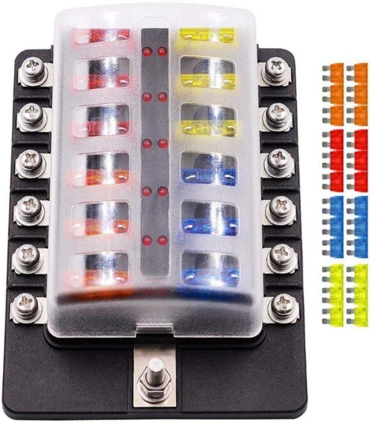 fuse holders amazon com electrical fuse blocks \u0026 fuse holdersfuse box holder,12 way blade fuse box holder with led warning light kit for