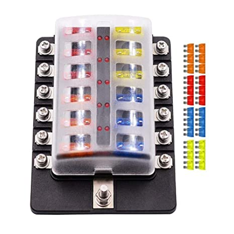 Fuse Box Holder,12 Way Blade Fuse Box Holder with LED Warning Light Home Fuses For Fuse Box on