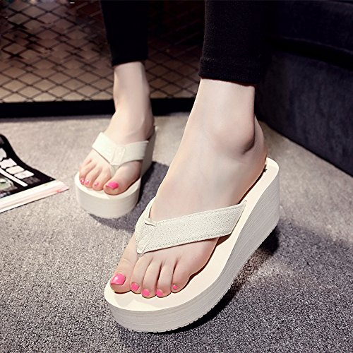 Mujeres Señoras Sandalias Sandalias / chancletas Zapatos de playa Zapatillas antideslizantes Sandalias de estudiante (Negro / Rosa / Blanco) Cómodo ( Color : Negro , Tamaño : 37 ) Blanco