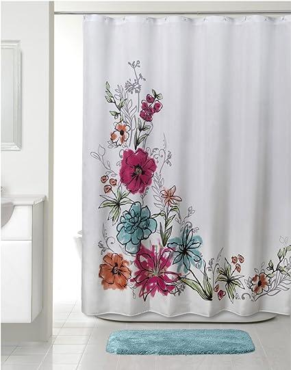 Allure Home Creation Flower Splash Fabric Shower Curtain 70 Inch By 72