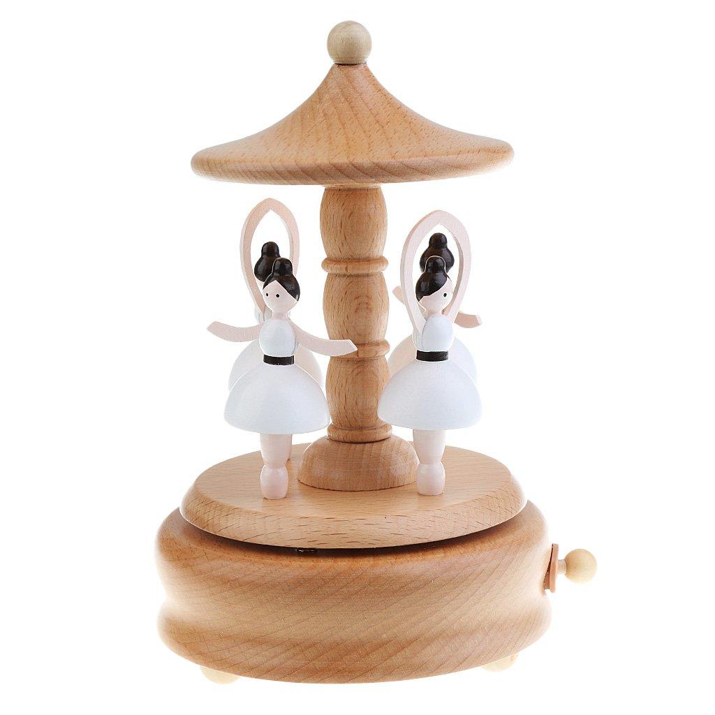 MagiDeal Holz Musik Box Box Box Boutique Geschenk, Holz Spieldose mit Schönen Melodien -Vergnügungspark Serie - Rotary Ballett Mädchen B077GW2638 Spieluhren 15148d