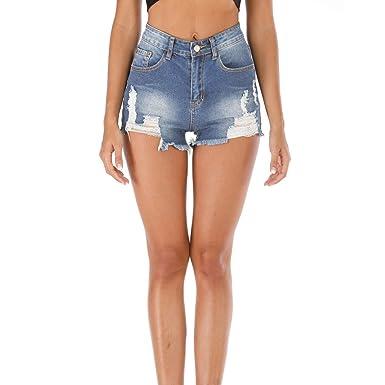 Luckycat Vaqueros Pantalones Cortos para Mujer Pantalón ...