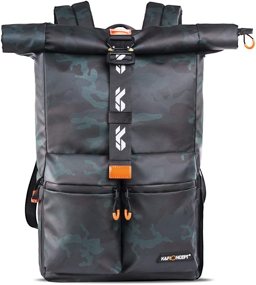 "K&F Concept Camera Backpack Waterproof Photography Camera Bag 15.6"" Laptop Compartment for SLR/DSLR Camera, Lens and Accessories with Rain Cover"