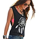 Teresamoon Printed T-Shirt, Women Summer Sleeveless Tops Crop Tank Vest Shirt Tee
