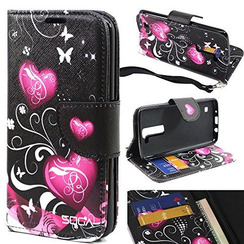 LG Treasure Case, LG K7 Case, LG Tribute 5 Wallet Case, SOGA [Pocketbook Series] PU Leather Folio Flip Wallet Case for LG K7 / LG Tribute 5 / LG Treasure LTE (L51AL L52VL) - Butterfly Heart from SOGA