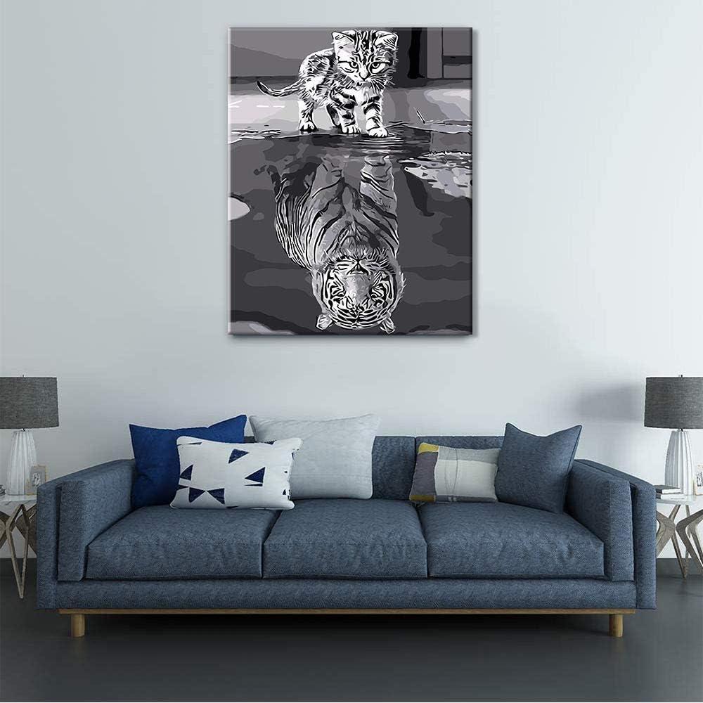 CELLYONE Peinture par num/éros pour Adultes et Enfants Kits Cadeaux de Peinture /à lhuile de Bricolage Art de Toile pr/é-imprim/é Chat et Tigre 40x50cm sans Cadre