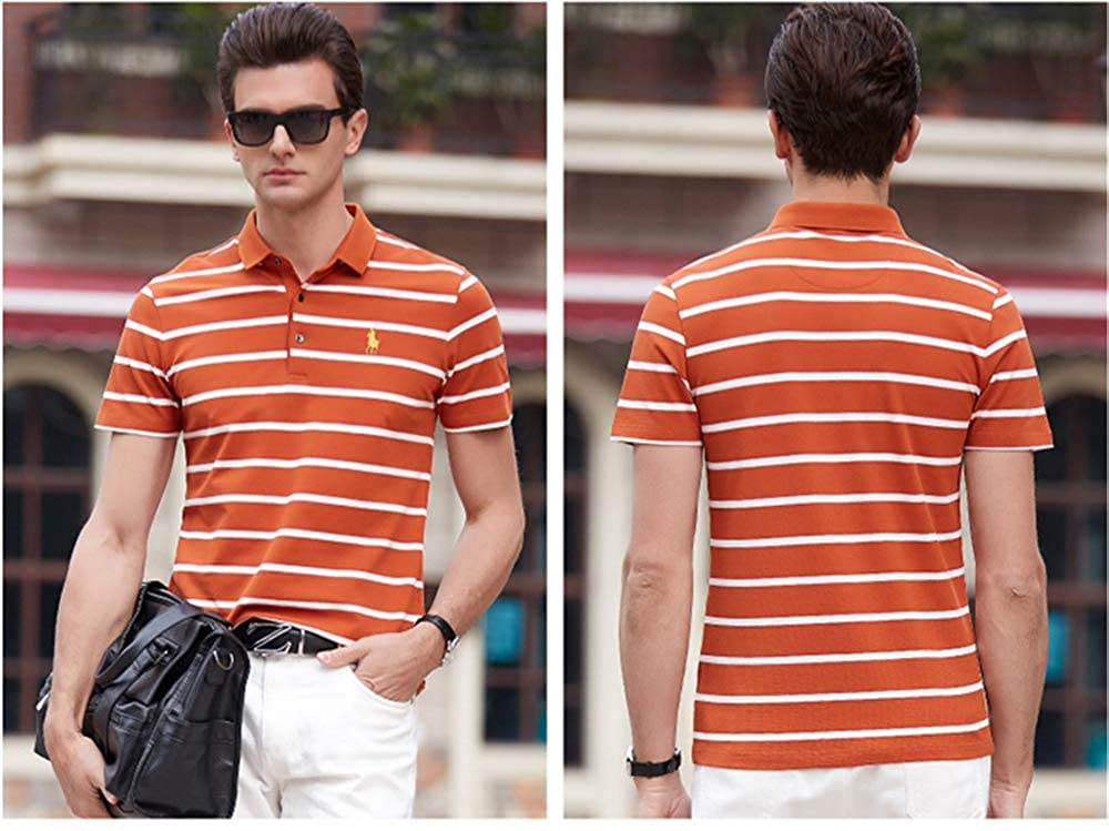 Mens Short Sleeve Polo Shirt Classic Casual Business Slim Fit Polo T Shirts