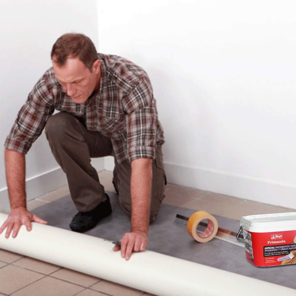 goma o caucho de hasta 4 mm de grosor 1 kg Rayt 524-09 Primacola Plus C-10 Adhesivo acr/ílico unilateral para revestimientos ligeros: moquetas pavimentos de PVC F/ácil aplicaci/ón con esp/átula