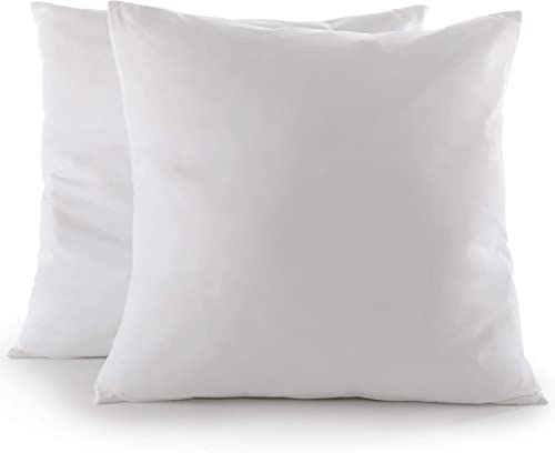 Cheer Collection Set of 2 Decorative White 28 x 28 Square Accent Throw Pillows and Insert for Couch Sofa Bed, Includes Zippered Cover