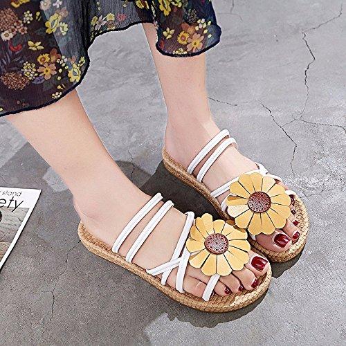 informales zapatos XIAOGEGE mujer sandalias plano preciosas Fondo de Blanco sandalias flores xwzSBq