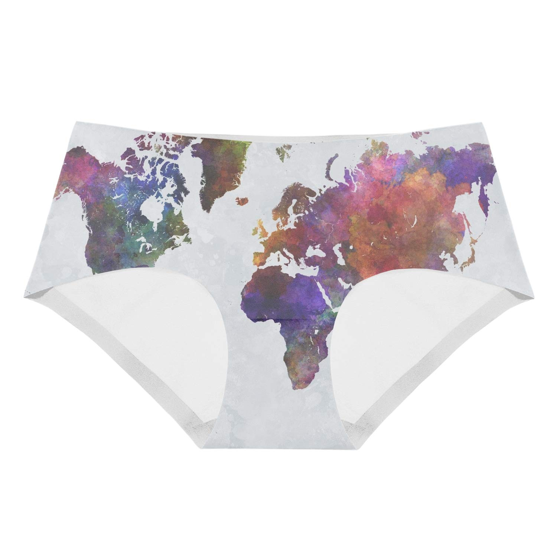 SALW Colorful World Map Underwear Girls Low-Waist Stretch Briefs Panties