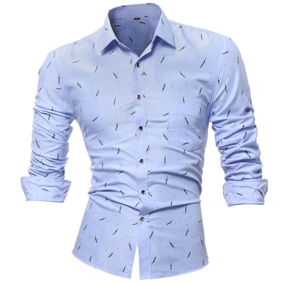 Hombre camisa manga larga moda Otoño,Sonnena ❤ La camisa impresa de los hombres de la personalidad Camisa estampada de manga larga delgada casual Blusa ...