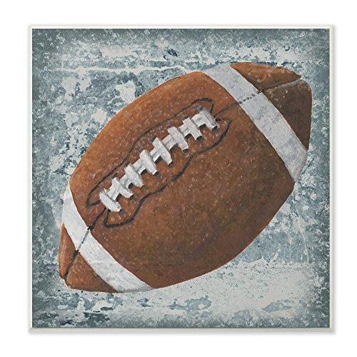 The Kids Room by Stupell Grunge Sports Equipment Football Wall Plaque Art, 12 x 0.5 x 12, Proudly Made in USA