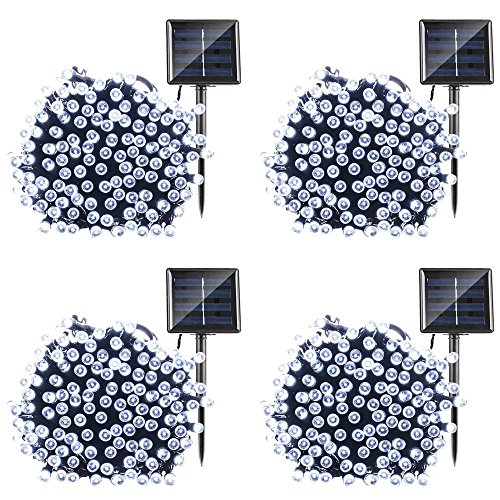 Qedertek Solar String Lights, 72ft 200 LED Fairy Lights, 8 Modes Ambiance Lighting for Outdoor, Patio, Lawn, Landscape, Garden, Home, Wedding (4 Pack, Cool White)