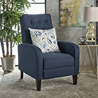 Nissa Tufted Navy Blue Fabric Recliner