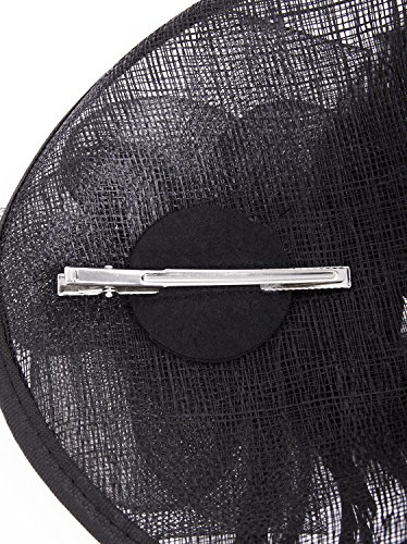 Vijiv Women Vintage Derby Fascinator Hat Pillbox Headband Feather Cocktail Tea Party,Black,One Size by Vijiv (Image #5)